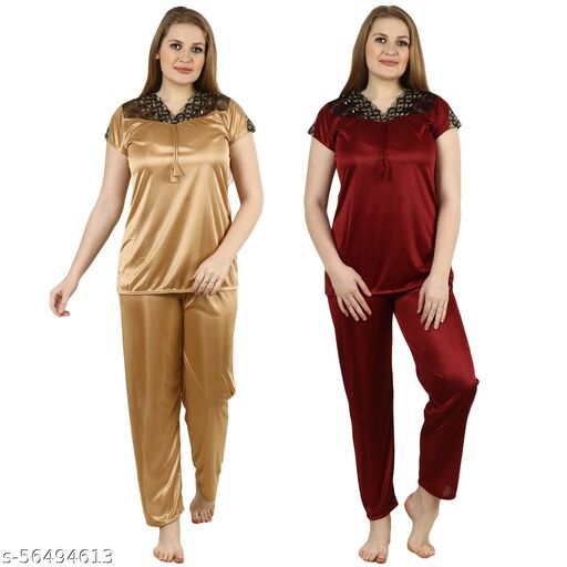 RE OK Satin Women's Latest Night Suit Free Size Top and Pajama Set Night Dress for Women/Girls in Combo Pack of 2 Colors