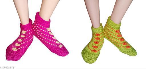 Hand Knitted Woolen Socks Pair of 2 by Fiyoli Art