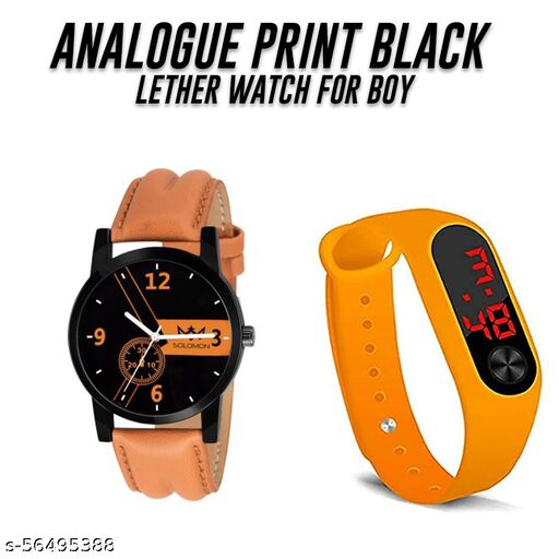 Analog Orange Dial Unisex Watch With Free Dark Yallow M-2 band