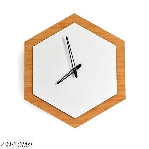 White-&-Brown Round Modern Wall Clock