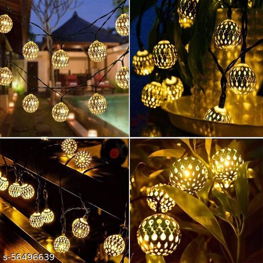 Golden 16 Metal Ball String with LED Lights Fairy for Diwali, Navratri, Christmas Trees, Wedding, Romantic Mood Bedroom,Indoor and Outdoor Decorations