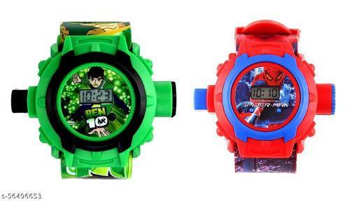 Ben-10 & SpiderMan 24-Images Digital Display Projector Cartoon Watch for Kids