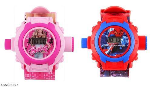 Barbie & SpiderMan 24-Images Digital Display Projector Cartoon Watch for Kids
