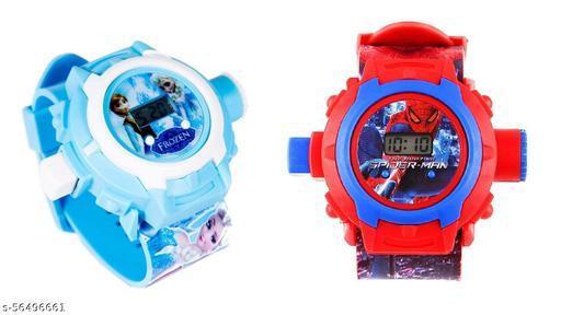 Frozen & SpiderMan 24-Images Digital Display Projector Cartoon Watch for Kids