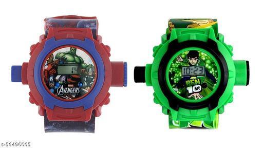 Avengers & Ben-10 24-Images Digital Display Projector Cartoon Watch for Kids