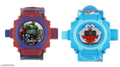Avengers & Doraemon 24-Images Digital Display Projector Cartoon Watch for Kids