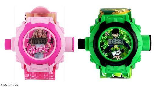 Barbie & Ben-10 24-Images Digital Display Projector Cartoon Watch for Kids