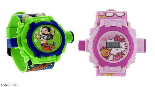 Chota Bheem & Hello Kitty 24-Images Digital Display Projector Cartoon Watch for Kids
