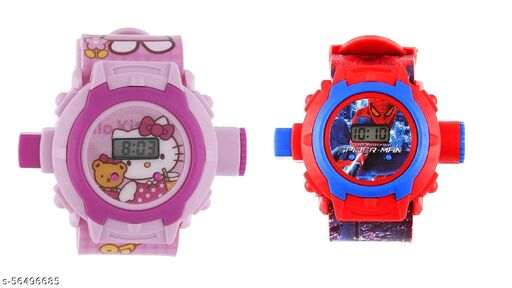 Hello Kitty & SpiderMan 24-Images Digital Display Projector Cartoon Watch for Kids
