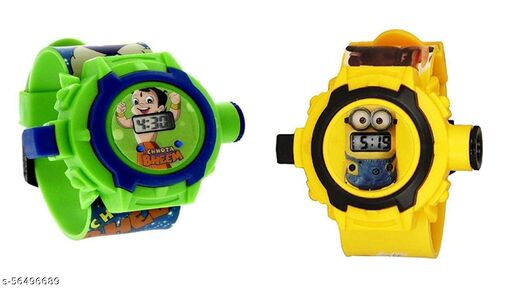 Chota Bheem & Minions 24-Images Digital Display Projector Cartoon Watch for Kids