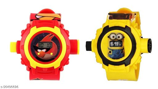 Angry Bird & Minions 24-Images Digital Display Projector Cartoon Watch for Kids