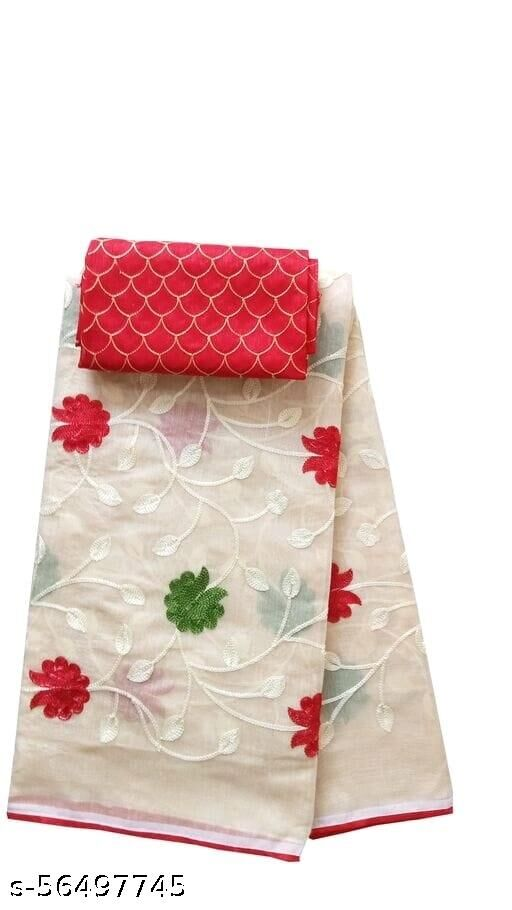 SMV Women's Chanderi Cotton Embroidered Chain Jaal Party Wedding Fashion Sarees Cream