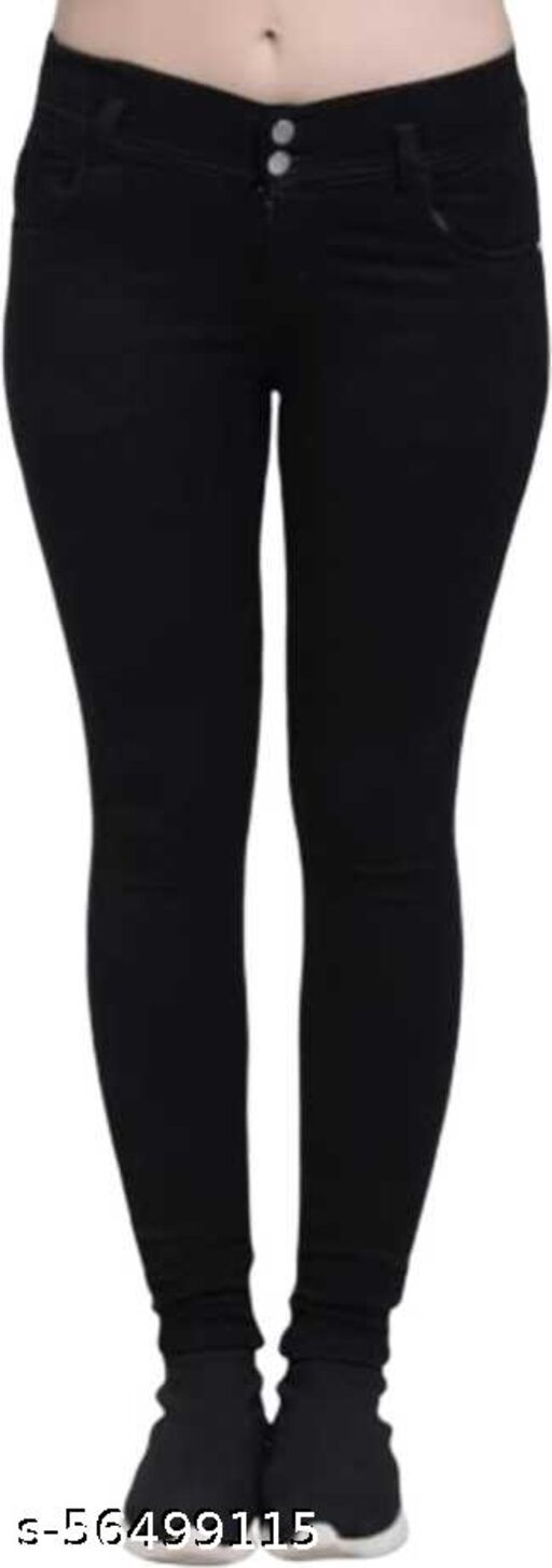silky 2 buttons bllack color high quality silky fabric comfortable jeans for ladies