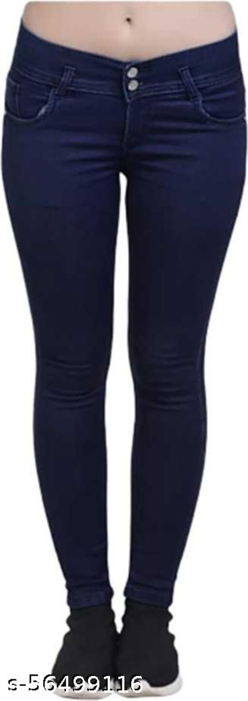 silky 2 buttons dark blue color high quality silky fabric comfortable jeans for ladies