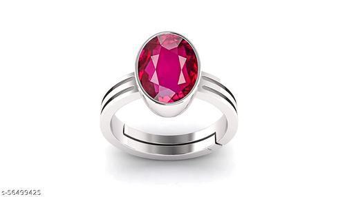 10.25 Ratti Natural Ruby Manik Loose Gemstone Silver Plated Birthstone Astrology Rashi Ratan Adjustable Ring for Men & Women