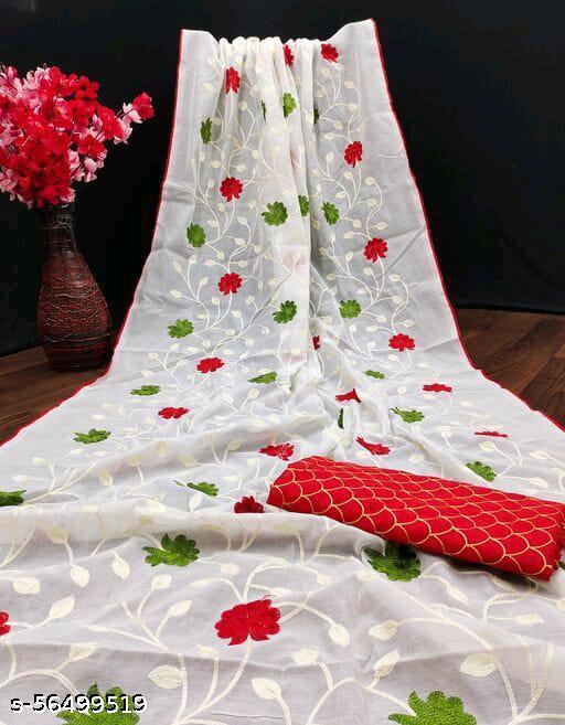 Akki Creation  Women's Chanderi Cotton Embroidered Chain Jaal Party Wedding Fashion Sarees White