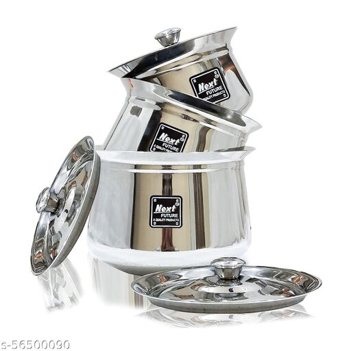NEXT Future, Heavy Gauge Arcot/ Dahi Stainless Steel Handi Set of 3 Highly Polished Cookware & Serveware Handi Set for Kitchen with Lid & Knob (2500ml, 1350ml & 450ml)