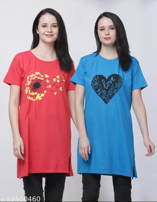 Women Cotton Long T-Shirt