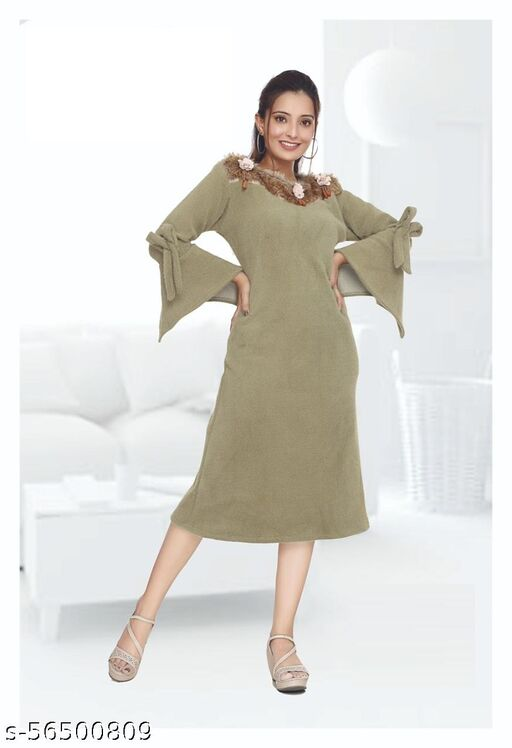 Trendy Winter Knee-Length Grey Dress with Bell Sleeves