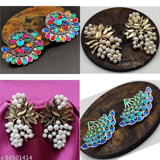GirlyPick Multicolor Statement Earrings Combo for Women and Girls - Set of 4