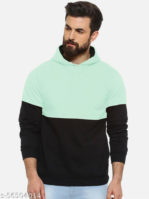 Urban Felpa Premium Cut and Sew Mint Green Hooded Sweatshirt