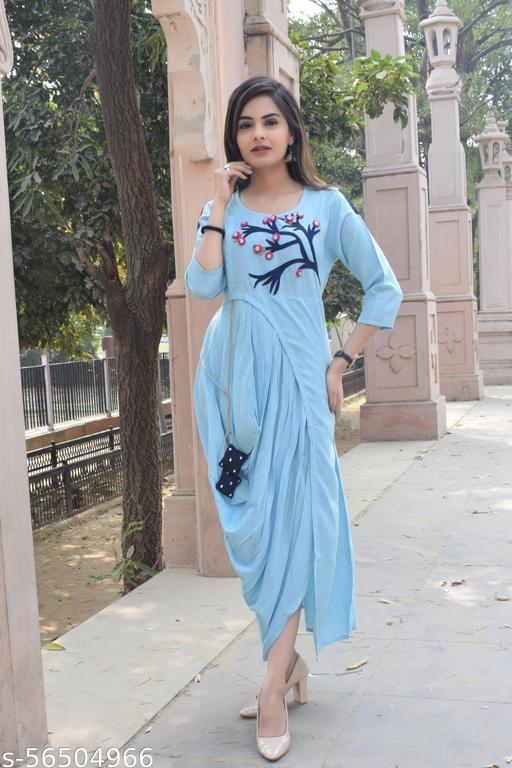 TRENDING LATEST Women Leheriya Rayon Embroidered Anarkali Kurta