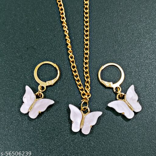 white butterfly set with earrings[anti tarnish chain]
