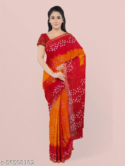 Handcrafted Bandhani art silk saree with Blouse Piece
