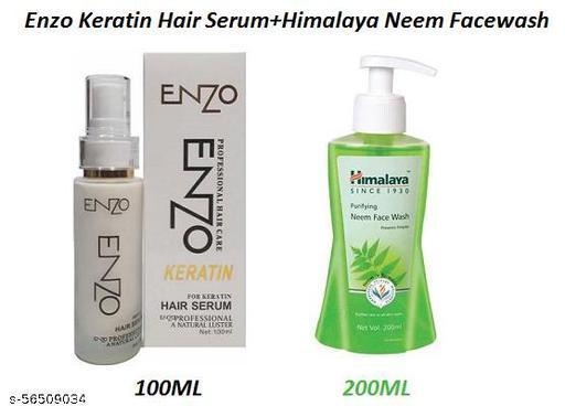 Enzo Professional Keratin Hair Serum 100ML & Himalaya Purifying Neem Face Wash 200ML, (Set Of 1)