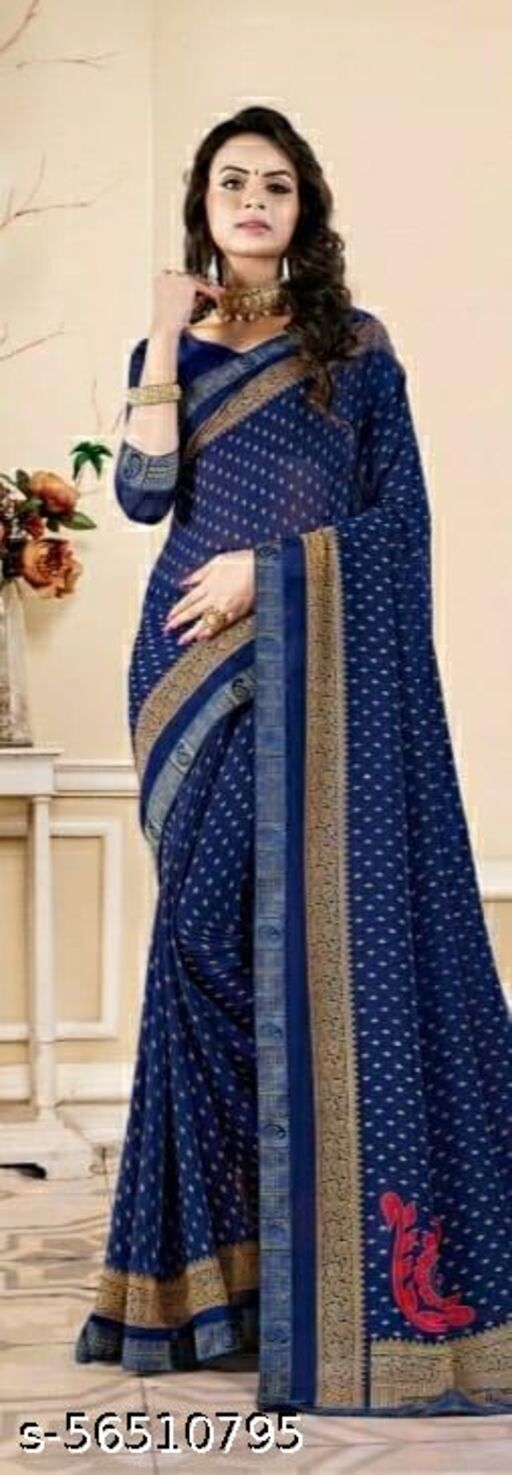 Women's Stylish Wetlees Blue Saree With Fancy Blouse