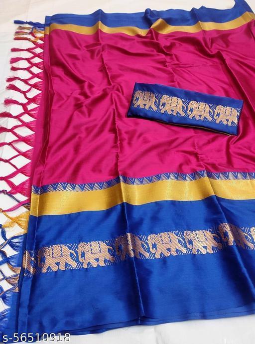 Maharaja Creation Elephant Design Cotton Silk Saree (PINK & BLUE)