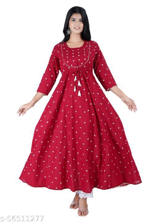 Senqva Red Cotton Flared Dress Gota Patti Work Kurta Online
