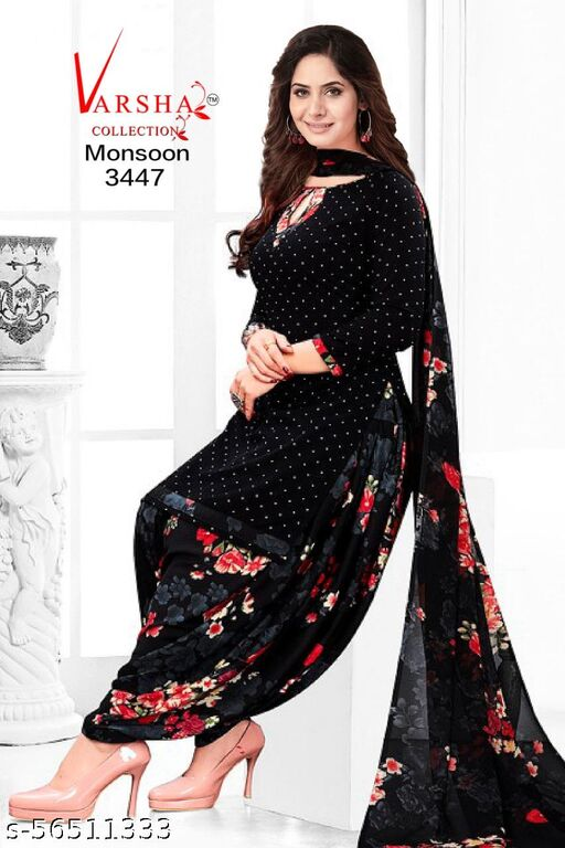 Varsha Women's Printed Soft Synthetic Unstitched Dress Material with Dupatta