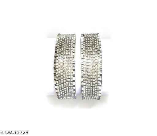 Rhodium Plated Crystal Studded Bangles Kada Jewellery For Girls and Women's. (Set of 2)