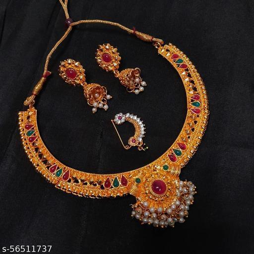 Maharashtrian Traditional Kolhapuri Thushi Necklace with Earring Nosepin Combo Set 2