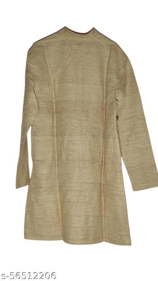 Khadi Men's kurta Pajama Cloth khadi Unstiched  wood Color kurta white Pajama cloth