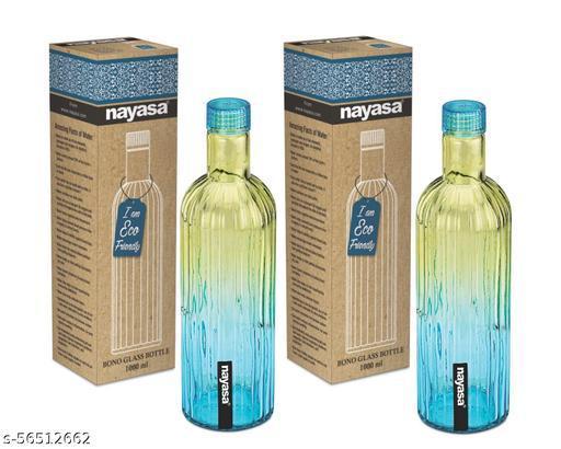 Nayasa Bono Glass Bottle 1000 ML Set of 2