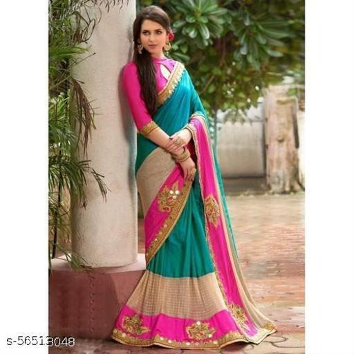 pink paper silk tiranga saree with mirror work