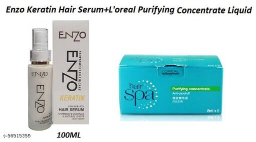 Enzo Professional Keratin Hair Serum 100ml & L'oreal Hair Spa Purifying Concentrate, (Set Of 1)