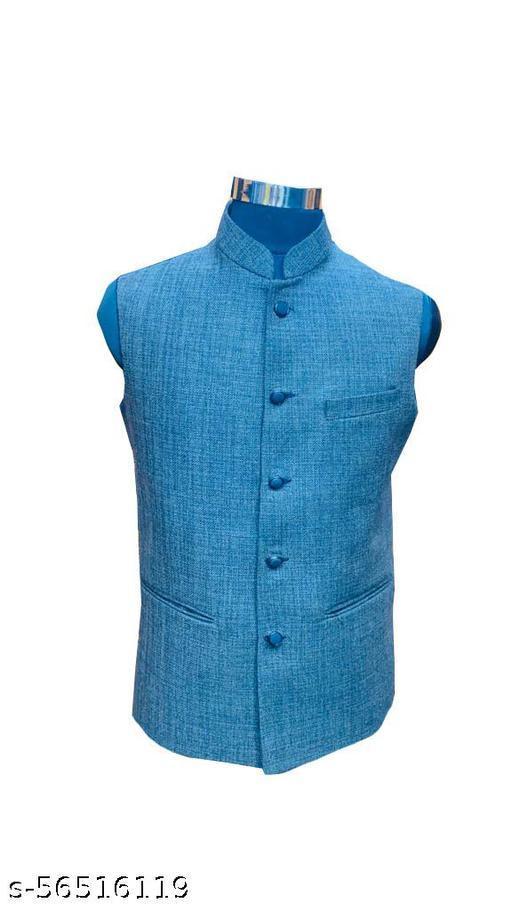blue Classic Men Ethnic Jackets