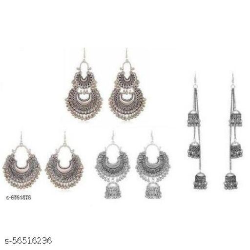 Combo pack of 4 Oxidized Chandhbali Pairs - silver earrings