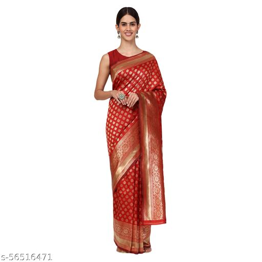 Women's Woven Jacquard Banarasi Silk Red  Saree With Unstitched Blouse Piece