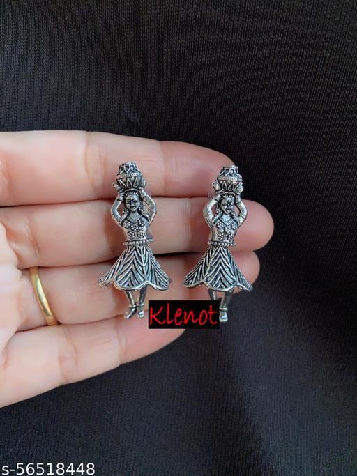 Klenot Matki Doll Design Oxidised Silver Earrings