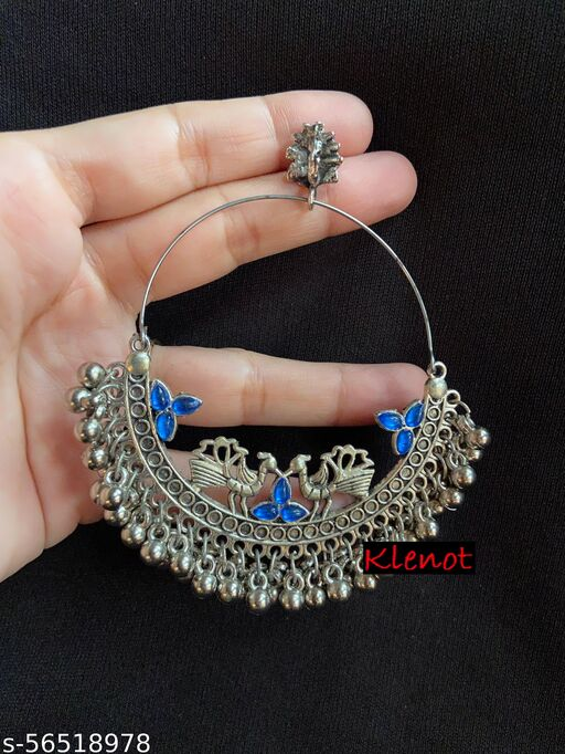 Klenot Oxidised Silver Peacock Design Blue Crystal Hoop Earrings