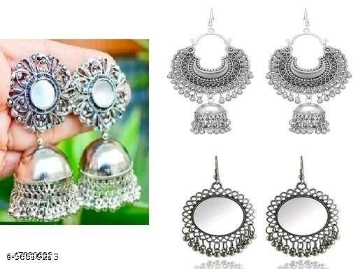 Combo Pack Of 3 New Design Combo Earring-Silver