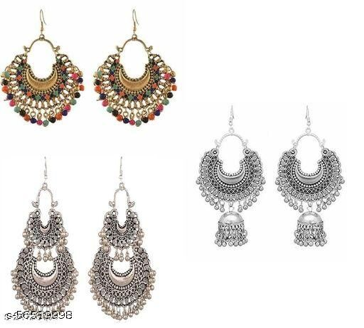 Combo Pack of 3 Top Trending Oxidised Silver Earring