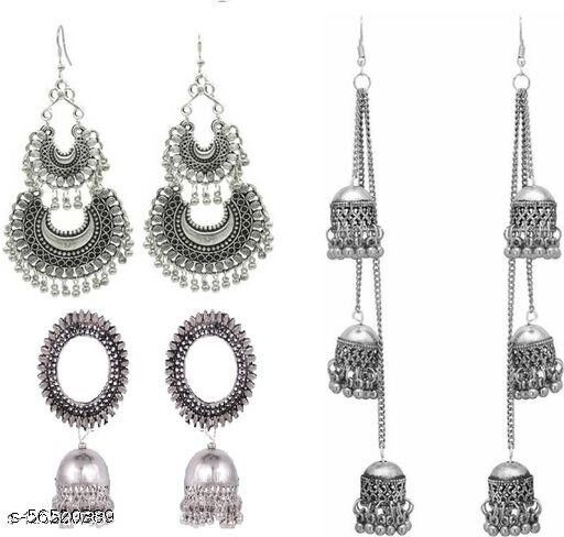 Combo pack of 3 trending Chandbali earrings for party/wedding-Silver