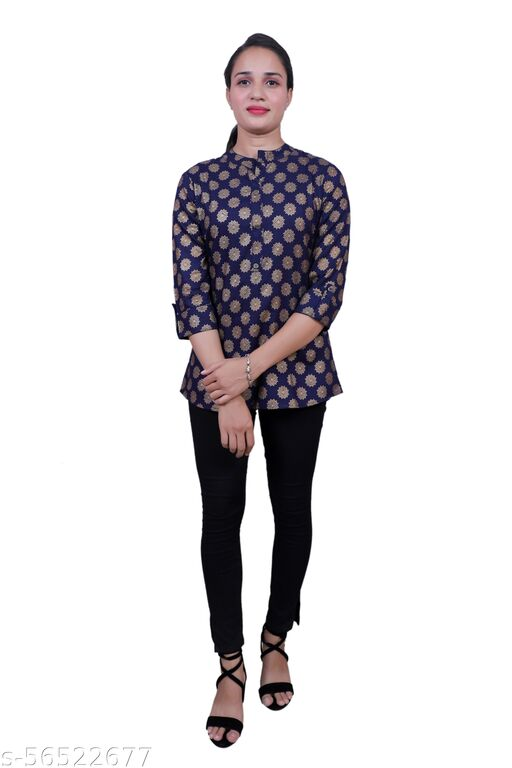 Gold Printed Top ( Navy Blue )