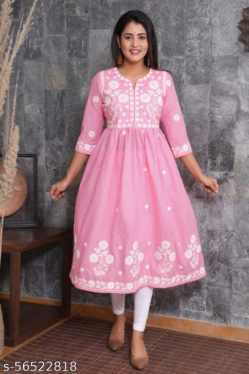 Women Pink and white Hand embroidered Lucknowi Chikankari Straight Sustainable Kurta