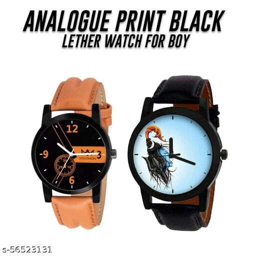 Leather Brown Strape Analog Watch With Mahadev Print Sky Blue Dail Watch